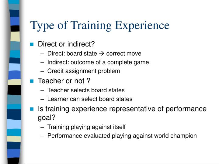 Type of Training Experience