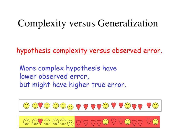 Complexity versus Generalization