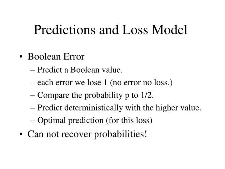 Predictions and Loss Model