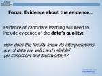 focus evidence about the evidence