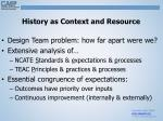 history as context and resource