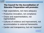 the council for the accreditation of educator preparation will promote