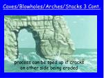 caves blowholes arches stacks 3 cont