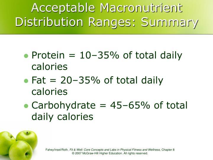 Acceptable Macronutrient Distribution Ranges: Summary