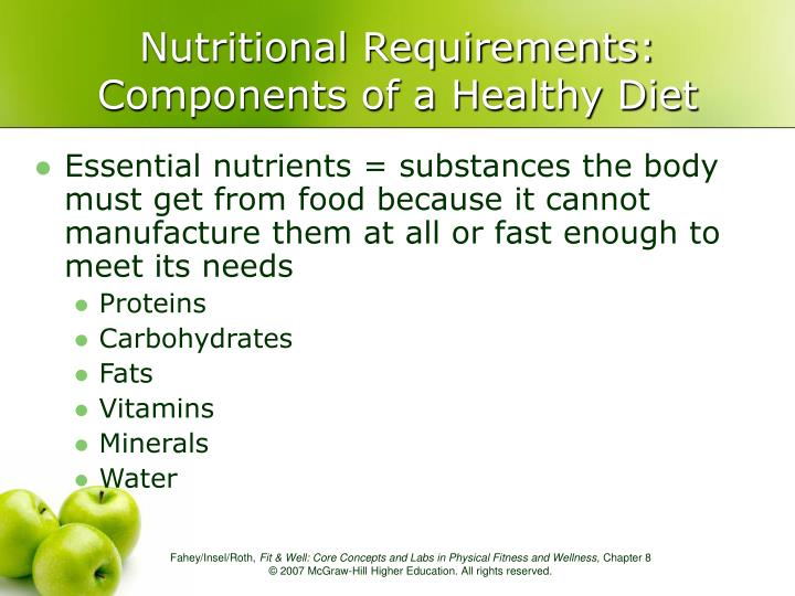 Nutritional requirements components of a healthy diet