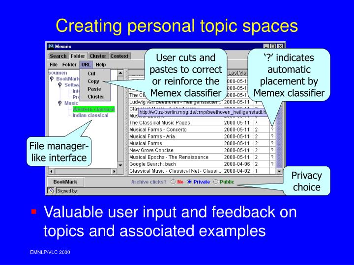 Creating personal topic spaces