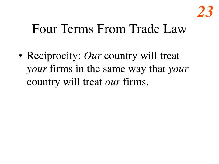 Four Terms From Trade Law