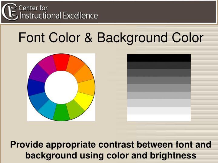 Font Color & Background Color