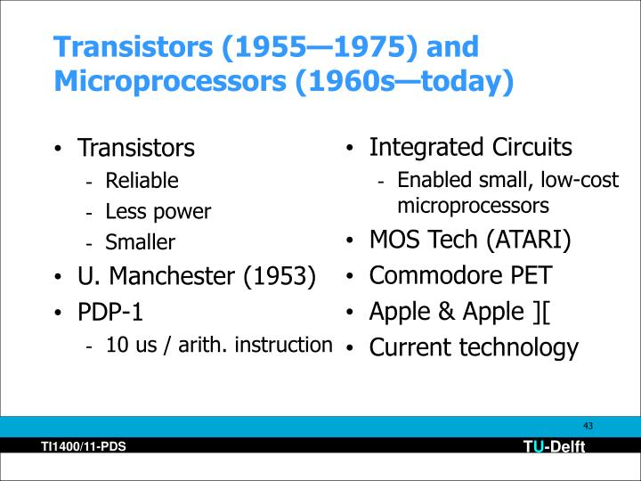 Transistors (1955—1975) and Microprocessors (1960s—today)