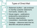 types of direct mail
