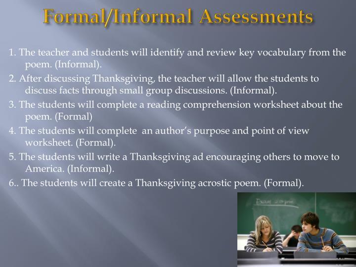Formal/Informal Assessments