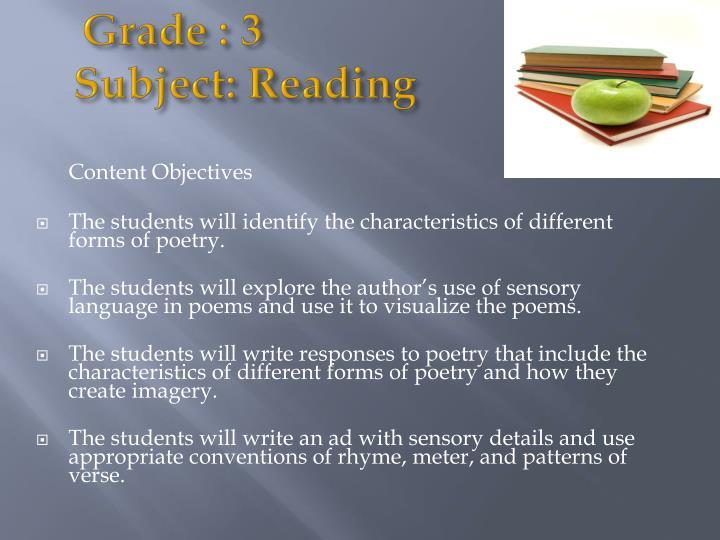 Grade 3 subject reading