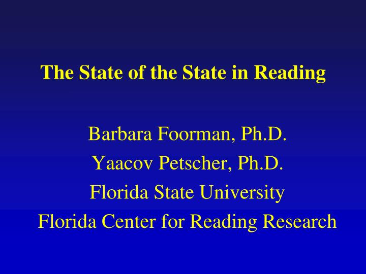 the state of the state in reading