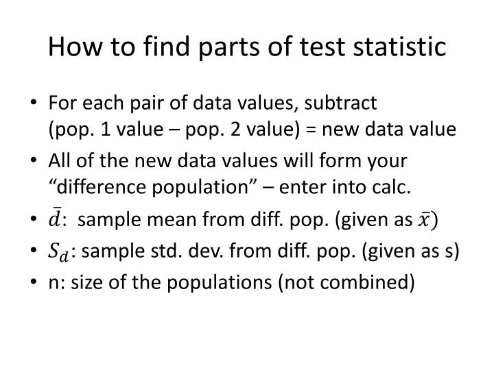 How to find parts of test statistic