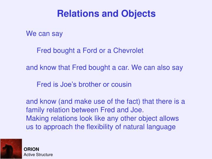 Relations and Objects