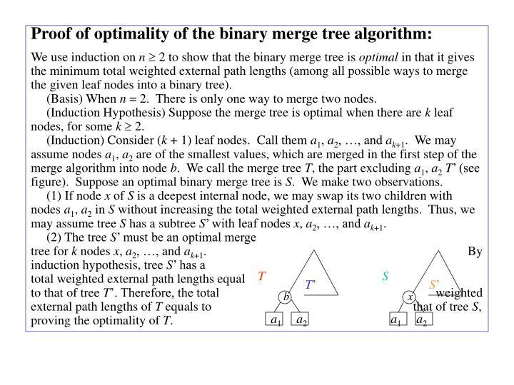 Proof of optimality of the binary merge tree algorithm: