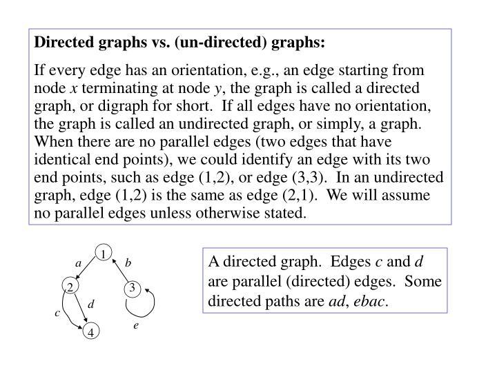 Directed graphs vs. (un-directed) graphs: