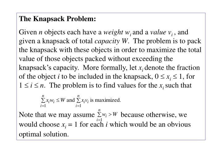 The Knapsack Problem: