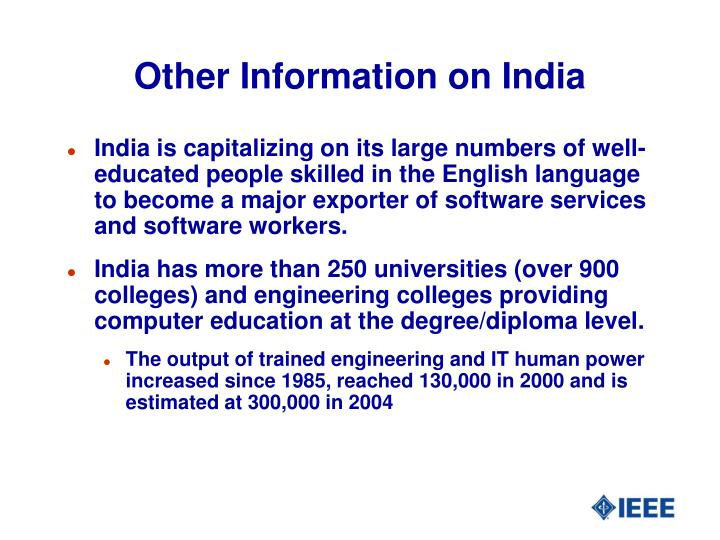 Other Information on India