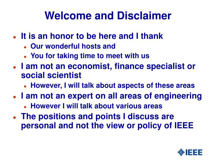 Welcome and disclaimer