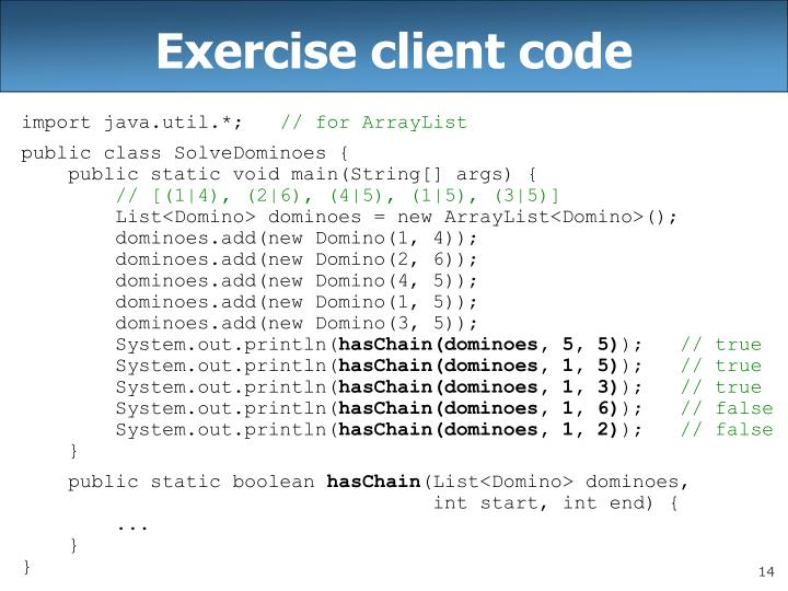 Exercise client code