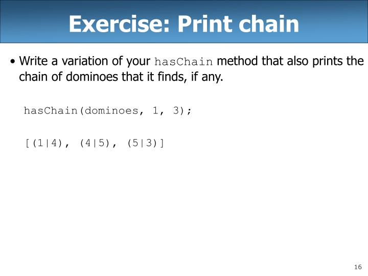 Exercise: Print chain