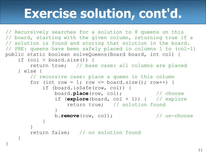 Exercise solution, cont'd.