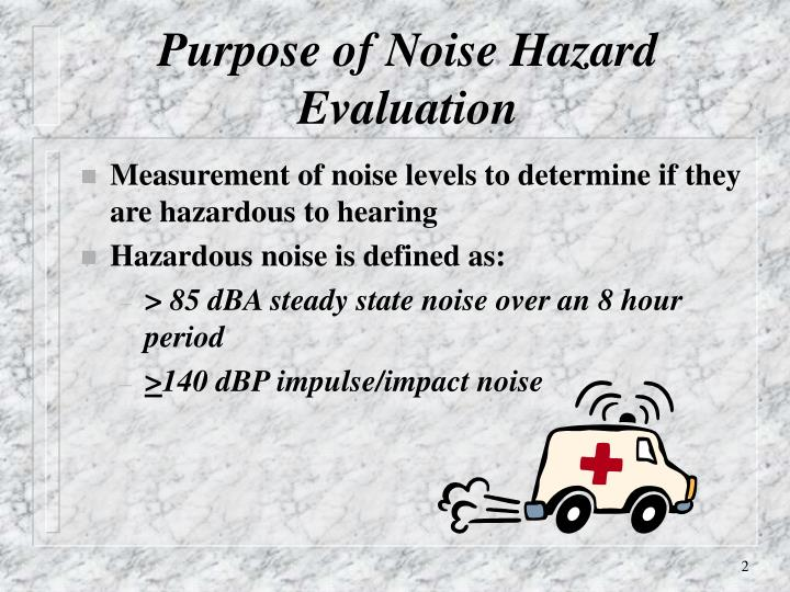 Measurement of noise levels to determine if they are hazardous to hearing