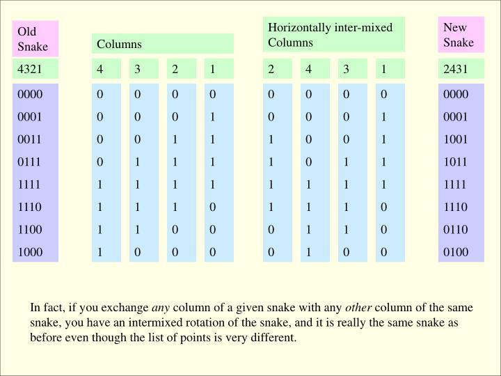 Horizontally inter-mixed Columns