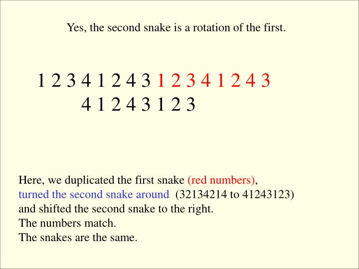 Yes, the second snake is a rotation of the first.