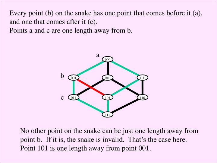 Every point (b) on the snake has one point that comes before it (a),