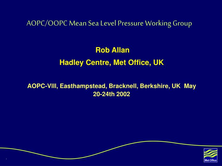 Aopc oopc mean sea level pressure working group