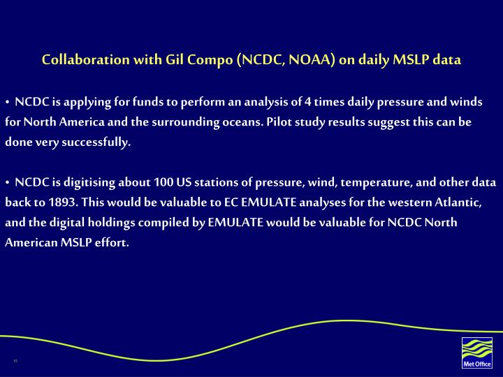 Collaboration with Gil Compo (NCDC, NOAA) on daily MSLP data