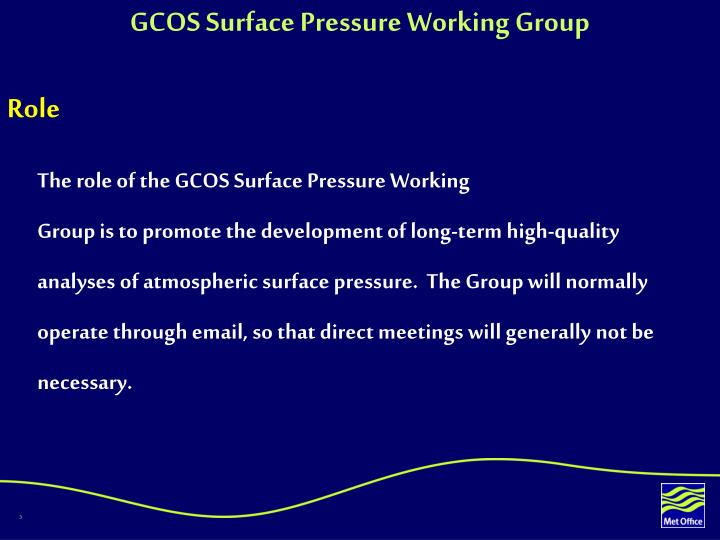 GCOS Surface Pressure Working Group