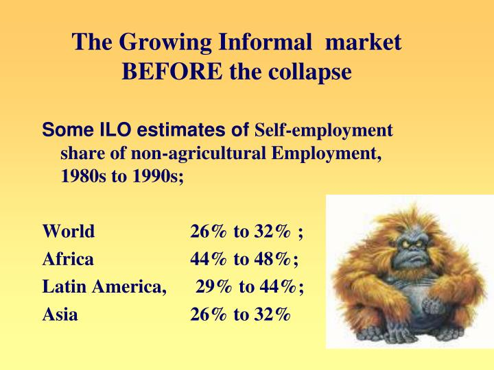 The Growing Informal  market BEFORE the collapse