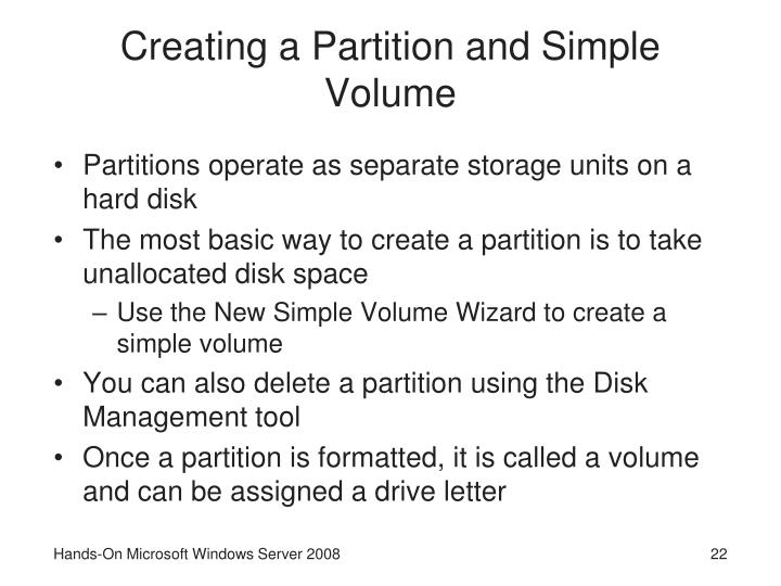 Creating a Partition and Simple Volume