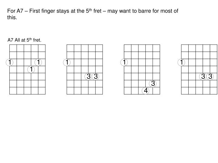 For A7 – First finger stays at the 5