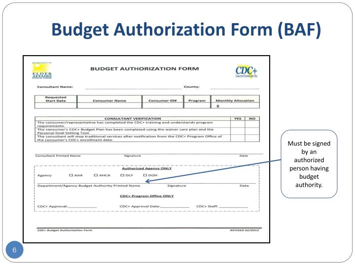 Budget Authorization Form (BAF)