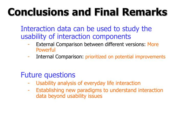 Conclusions and Final Remarks