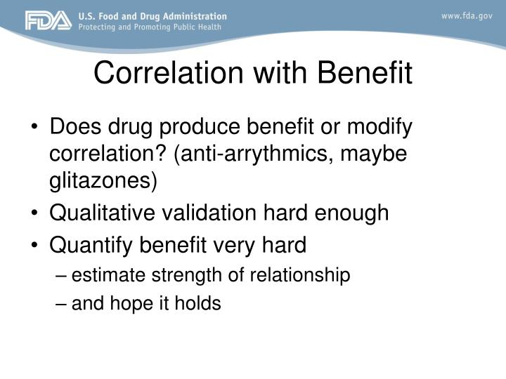 Correlation with Benefit
