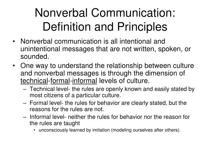 Nonverbal communication definition and principles