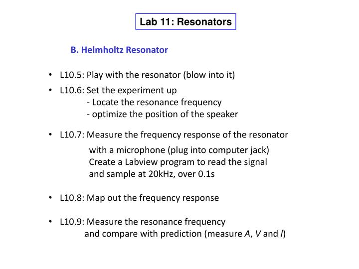 Lab 11: Resonators