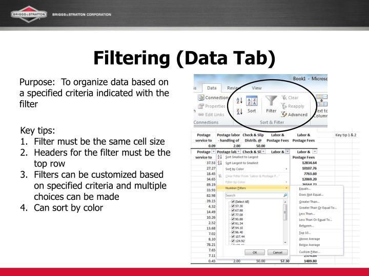 Filtering data tab