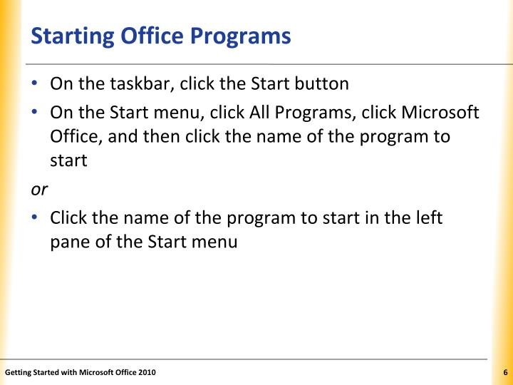 Starting Office Programs