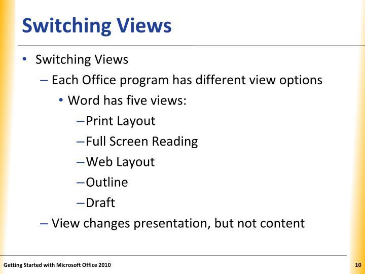 Switching Views
