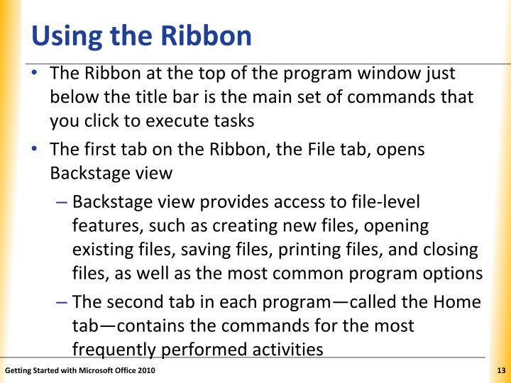 Using the Ribbon