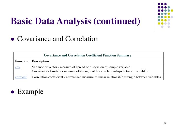 Basic Data Analysis (continued)