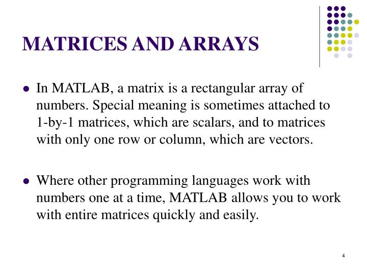 MATRICES AND ARRAYS