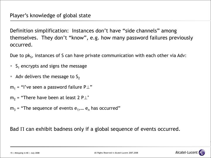 Player's knowledge of global state