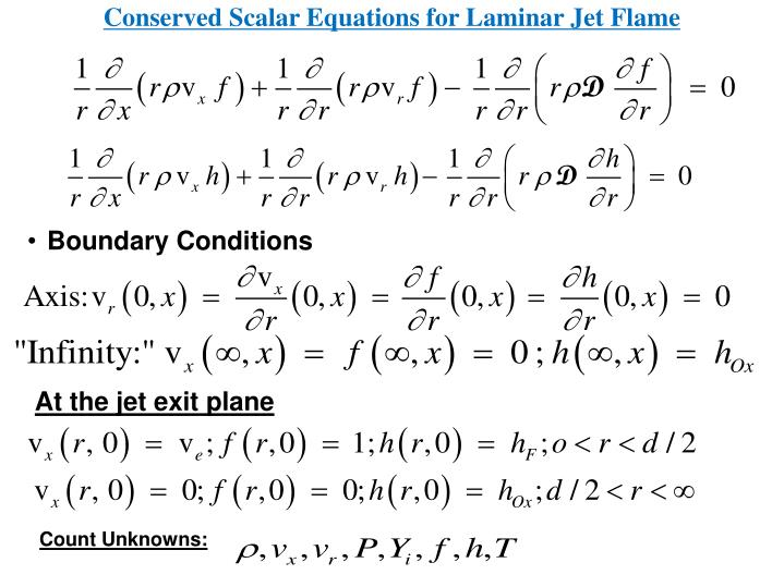 Conserved Scalar Equations for Laminar Jet Flame